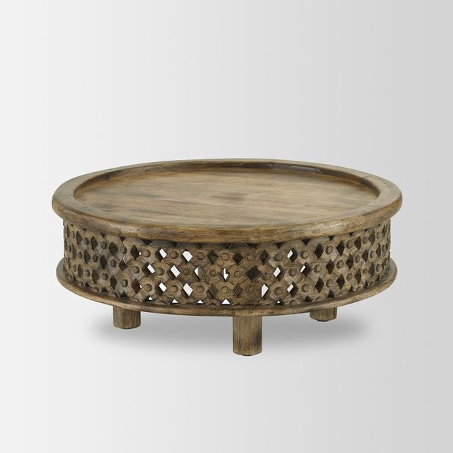 Carved Wood Coffee Table contemporary coffee tables