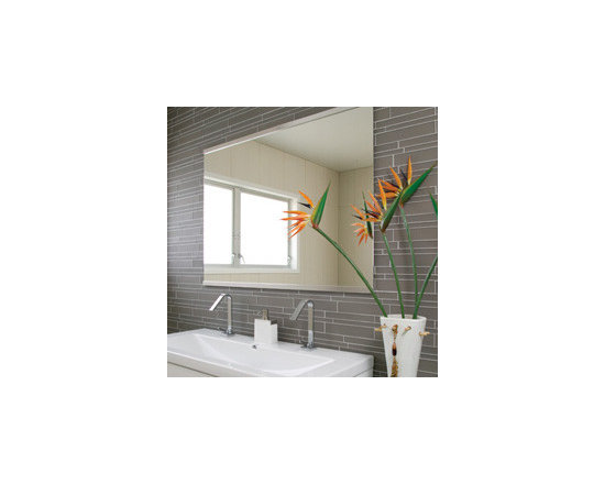 Glass mosaic - Interlocking glass mosaic tile available in neutral colors. Perfect for bathroom or kitchen installations, feature walls, etc.