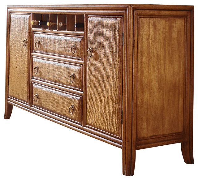 American Drew Antigua China Base in Toasted Almond tropical-buffets-and-sideboards
