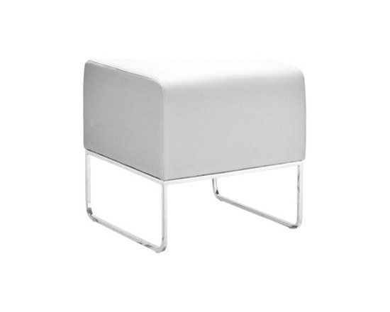 """Zuo - Plush White Leatherette Ottoman - The Plush Ottoman offers sleek simple design. This functional piece will also add a splash of style in any application. The cushion features white leatherette covering. The frame is solid steel with a brilliant chrome finish. 18 1/2"""" wide. 18 1/2"""" high. 18"""" deep.  White leatherette.   Solid steel construction.   Chrome finish.   18 1/2"""" wide.   18 1/2"""" high.   18"""" deep."""