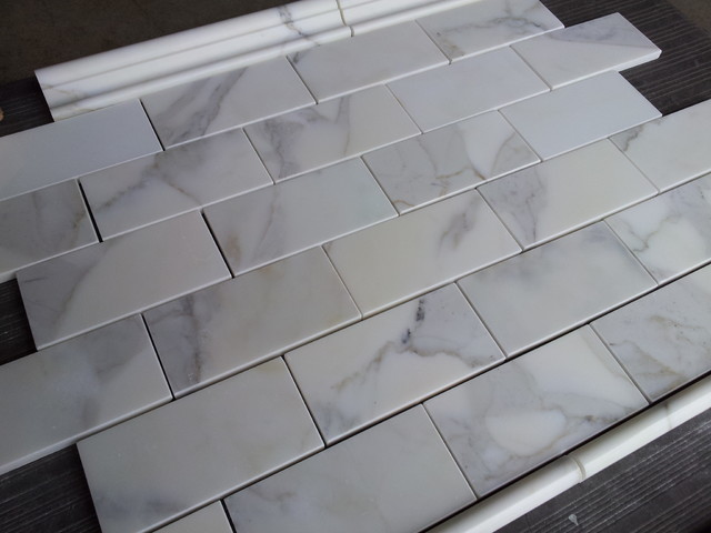 Calacatta Gold Italian Marble 3x6 Subway Tile Polished  floor tiles