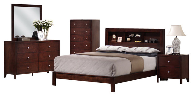 Montana Mahogany Brown Wood 5 Piece Queen Modern Bedroom Set Modern