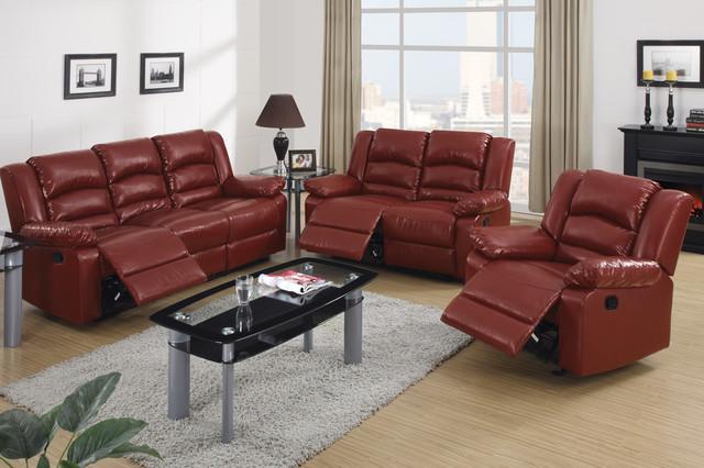 Modern Burgundy Leather Reclining Sofa Loveseat Motion