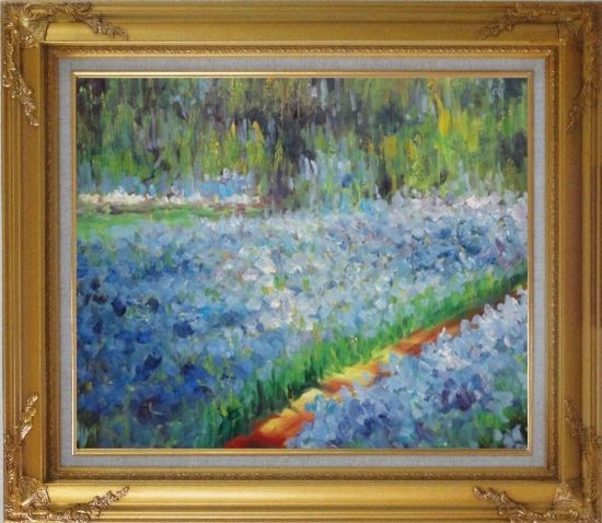 Framed the artist 39 s garden at giverny monet reproduction for Framed reproduction oil paintings