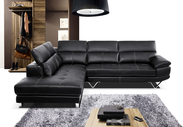 Modern Black Leather Sectional Sofa Couch Chaise Adjustable Armrest contemporary sectional sofas los angeles