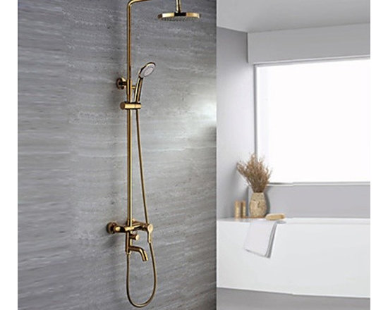 Shower Faucets - Ti-PVD Finish Contemporary Wall Mount Brass Shower Faucets