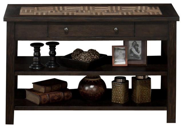 Jofran Barkley Dark Elm 48x20 Rectangular Sofa Table w/ Wood Tile Top contemporary-console-tables