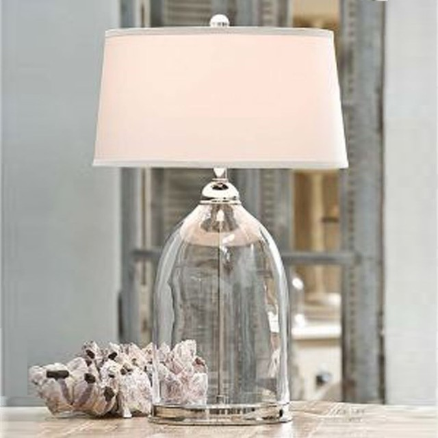 Glass And Nickel Lamp Contemporary Table Lamps By