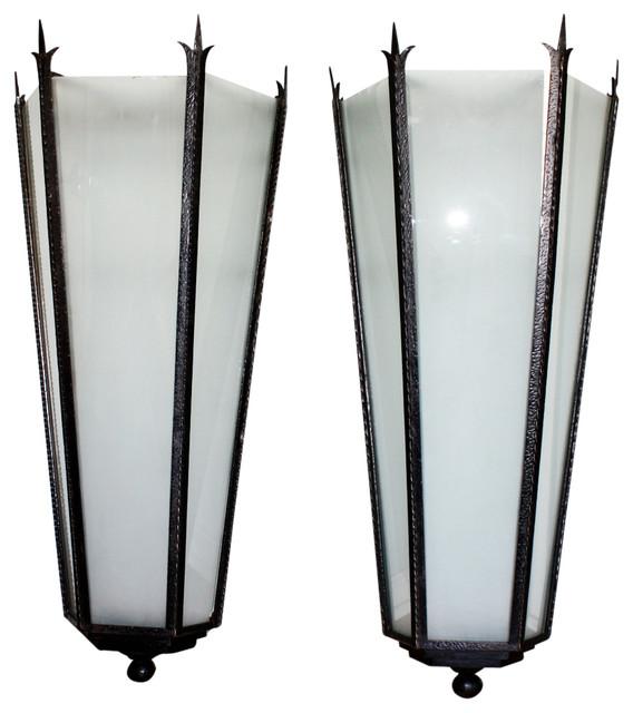 Pair Of Italian Art Deco Iron Lanterns Wall Sconces - Modern - Outdoor Decor - miami - by The ...