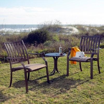 Panama Jack Island Breeze 3 Piece Slatted Balcony Set - Espresso modern-dining-tables
