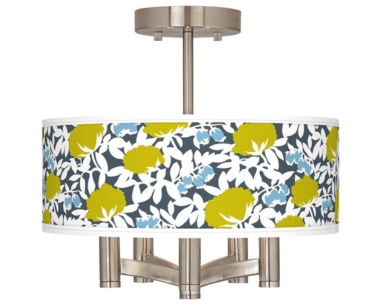 """Seedling - Country - Cottage Seedling Hedge Ava 5-Light Nickel Ceiling Light - Brushed nickel finish. Hedge pattern printed shade. Semi-flushmount design. Five 60 watt candelabra bulbs (not included). 14"""" wide. 13 1/2"""" high. Shade only is 14"""" wide 5"""" high. Canopy is 5"""" wide.   Brushed nickel finish.  Hedge pattern printed shade.  Semi-flushmount design.  Five 60 watt candelabra bulbs (not included).  14"""" wide.   13 1/2"""" high.   Shade only is 14"""" wide 5"""" high.   Canopy is 5"""" wide."""