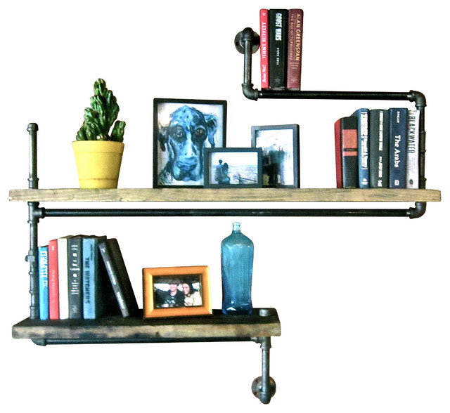 Level Three Industrial Pipe Bookshelf With 2 Wood Shelves - Industrial - Display And Wall ...