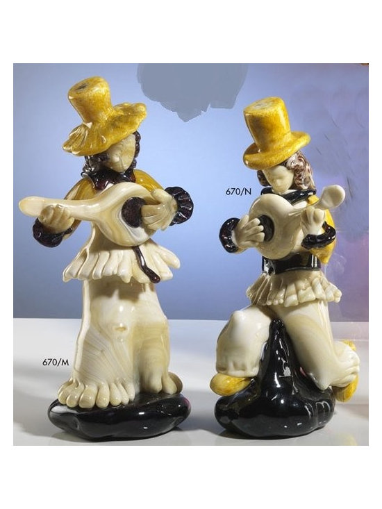 Murano Glass Sculptures and Figurines - Murano Glass Musician figurines - COA and made to order.  More available so please contact us