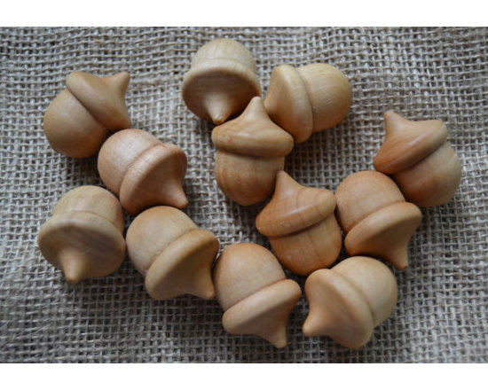 Natural Wooden Acorns by Gems From Before, Set of 12 -