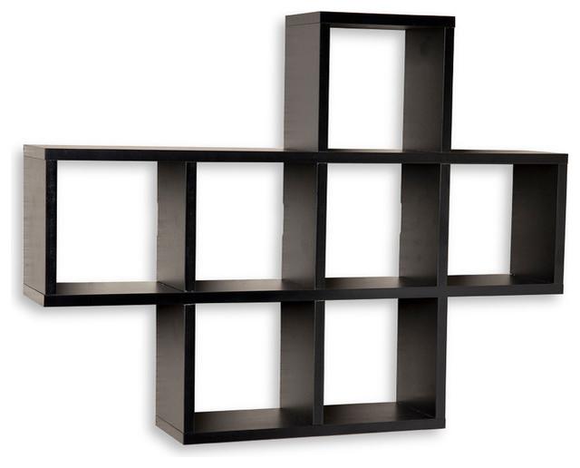 square cubby shelving unit laminated walnut wood veneer. Black Bedroom Furniture Sets. Home Design Ideas
