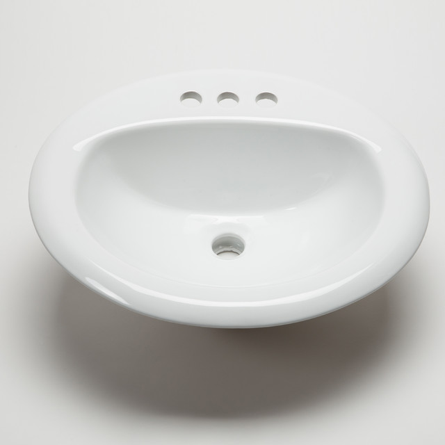 ... Bathroom Large Oval Bowl (Drop-In), White traditional-bathroom-sinks