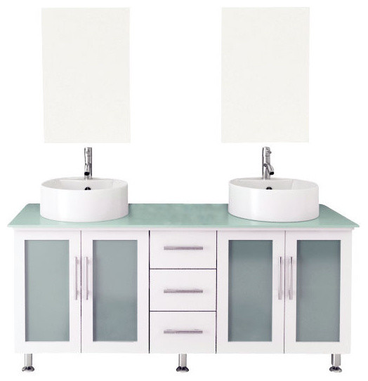 59 Double Lune White Large Vessel Sink Modern Bathroom Vanity With Glas