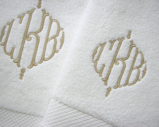 Matouk - Monogrammed Matouk Guesthouse Bath Towels - Beige Monogram on White Towels. Add $26 for a monogram.