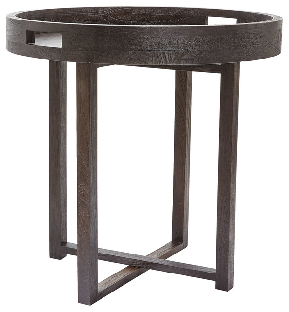 Houzz Black Coffee Table: Large Round Black Teak Side Table Tray
