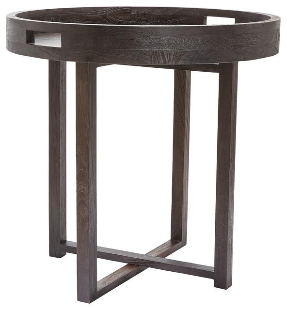Dark Teak Coffee Table: Large Round Black Teak Side Table Tray