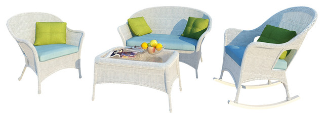 Rockport 4 Piece Traditional Wicker Sofa Set, Air Blue Cushions traditional-patio-furniture-and-outdoor-furniture