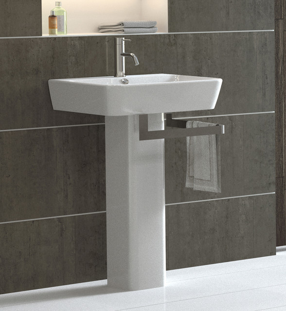 Sink Basin Bathroom : Emma Pedestal Sink - Modern - Bathroom Sinks - by Bissonnet