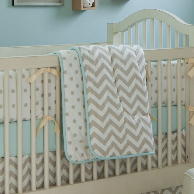 Taupe zig zag crib comforter traditional baby bedding for Zig zag bedroom ideas