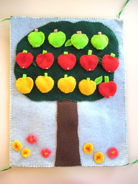 Quiet Book Math Book, Kindergarten Preschool Game, Apple Tree Felt Book contemporary nursery decor