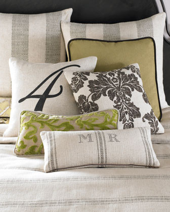 French Laundry Home Spring Garden Bed Linens Oblong Chenille Scroll Pillow traditional-decorative-pillows