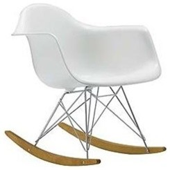 Molded White Plastic Arm Chair Retro Rocker Midcentury