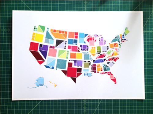 Tangram States Print contemporary-artwork