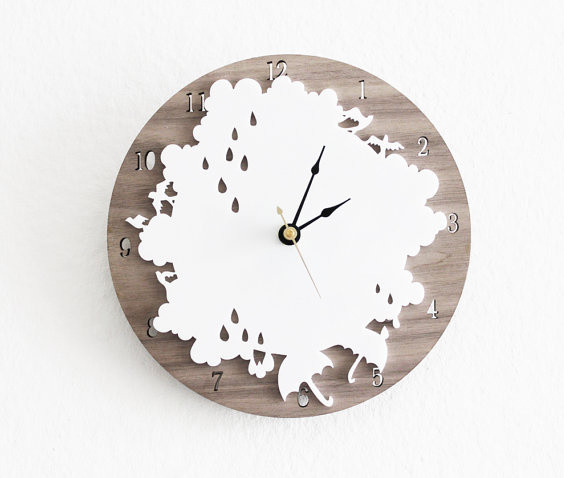 Rainy Day Clock Cloud Rain drop umbrellas by iluxo on Etsy contemporary clocks