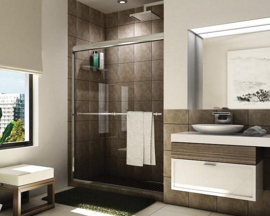 "Fleurco Banyo Verona Shower 56""-60"" Frameless In-Line Sliding Shower Doors E2-46 - Header with anti-jump feature"