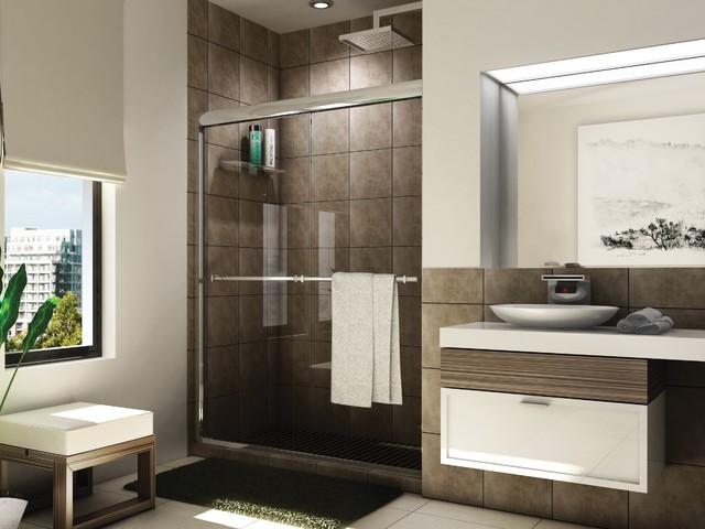 """Fleurco Banyo Verona Shower 56""""-60"""" Frameless In-Line Sliding Shower Doors E2-46 - Modern ..."""