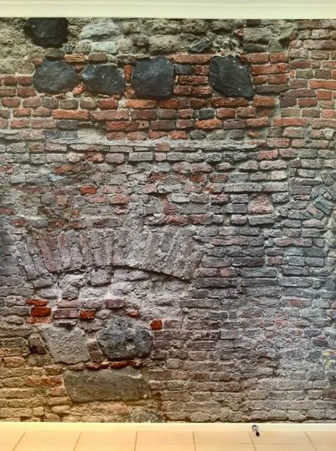 Eurowalls digital walls distressed brick mural install for Distressed brick wall mural