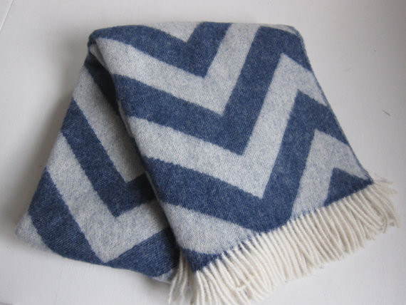Luxury Wool Throw Blanket Blue Chevron by European Wool and Linen modern-throws