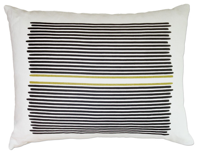 Hand Printed Linen Pillow - Louis Stripe, Black/Yellow, 14 x 18 contemporary-decorative-pillows