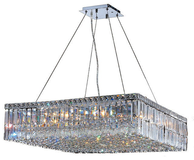 12 Light Crystal Pendant Chandelier Light In Chrome Finish With Crystal Accents