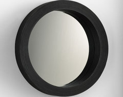 round espresso mirror modern mirrors