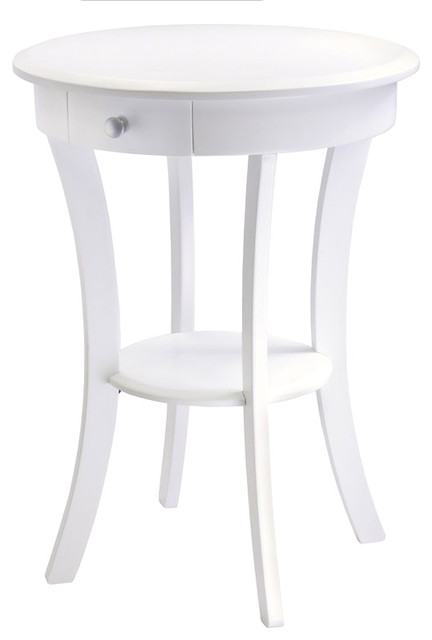 Round accent table with drawer curved legs in white beach style side