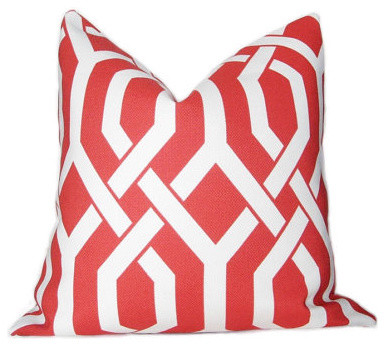 Accent Pillow, P Kaufmann Slick Coral Trellis Pattern By the bluebird shop contemporary-decorative-pillows