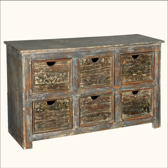 Industrial Rustic Reclaimed Wood 6-Cubby Storage Bin Cabinet - Accent Chests And Cabinets - by ...