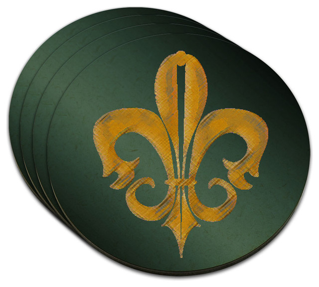 Fleur De Lis Rustic Gold On Teal Mdf Wood Coaster Set Of