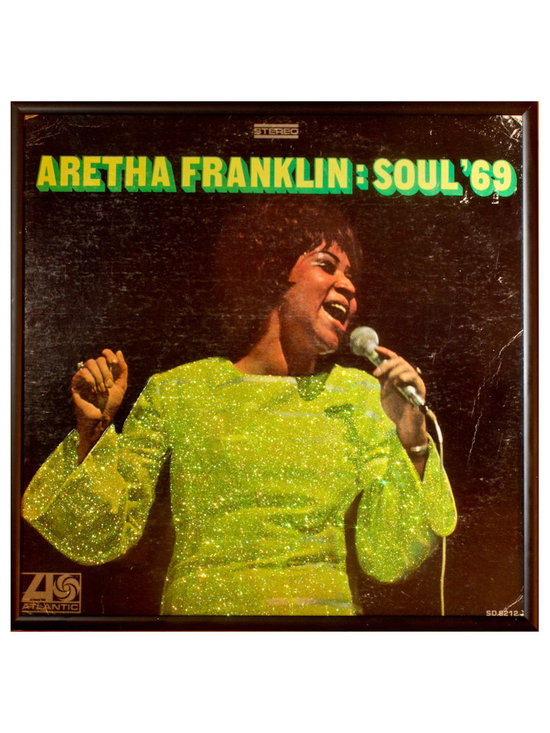 "Glittered Aretha Franklin Soul Album - Glittered record album. Album is framed in a black 12x12"" square frame with front and back cover and clips holding the record in place on the back. Album covers are original vintage covers."