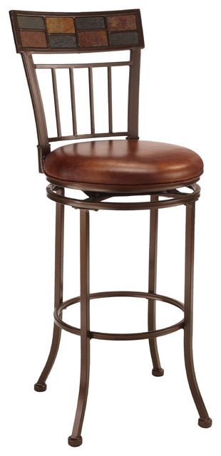 Montero Copper Brown Swivel Stool Contemporary Bar