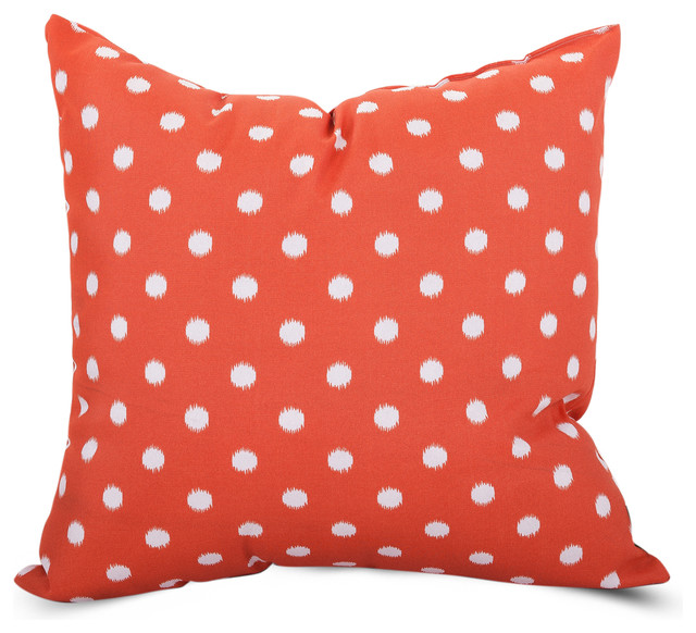 All Modern Outdoor Pillows : Outdoor Orange Ikat Dot Large Pillow - Contemporary - Outdoor Pillows - by Majestic Home Goods
