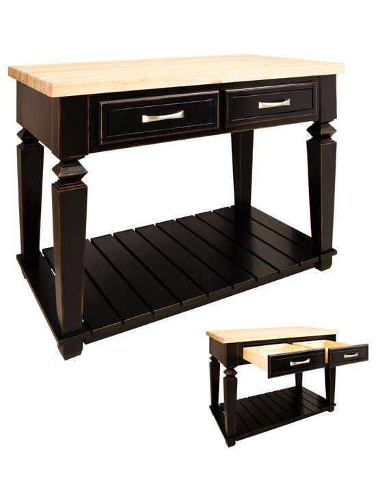 """Inviting Home - Newbury Kitchen Island (distressed black) - Newbury kitchen island cabinet in antique black finish; 45-15/16"""" x 28-1/6"""" x 34-1/4""""; 1-3/4"""" hard maple butcher block top (03) sold separately; This table style kitchen island with open shelf is manufactured using the highest quality furniture grade hardwoods and MDF. The kitchen island features two deep working drawers on one side and a false front on the reverse. Drawers are dovetail solid hardwood and are mounted on under mount full extension soft close slides. Decorative hardware is included with this item. Aged Black finish is applied by hand. Hard maple butcher block top (03) sold separately."""