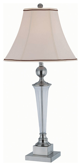 Table lamp plated black nickle fabric shade type a 150w Types of table lamps