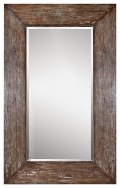 large antiqued hickory tone beveled wall mirror langford