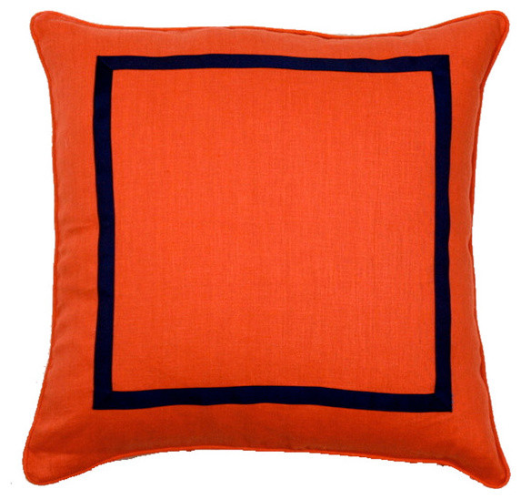 Orange and Navy Pillow - Contemporary - Decorative Pillows - by Furbish